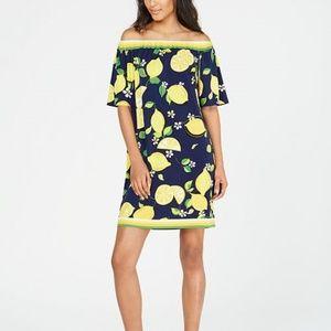 Trina Turk  Off-The-Shoulder Lemon-Print Dress.NWT